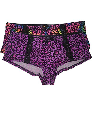 (Pack of 2) XOXO Womens Soft Boy Shorts Underwear Panties L Multicolor