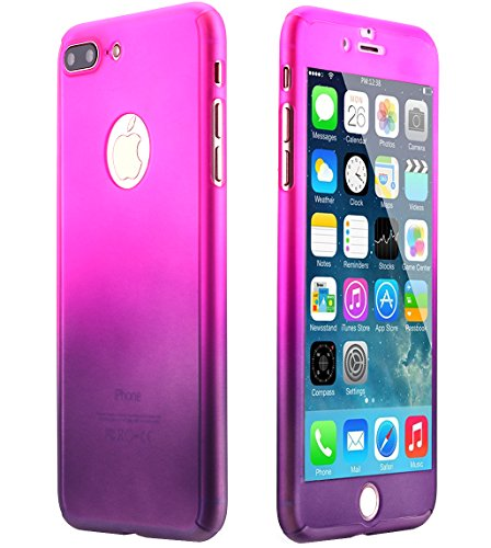 Ai-case C-135 Ultra Thin Full Body Coverage Protection Soft PC, Dual Layer, Slim Fit Case with Tempered Glass Screen Protector for iPhone 7 Plus - Purple