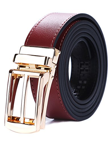 Tonywell Mens Leather Ratchet Belts with New Style Open Buckle Dress Belt 30mm Wide (One Size:32
