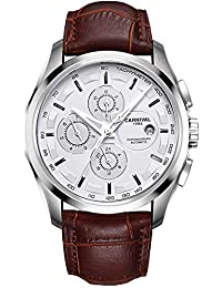 Mens 25 Jewels Automatic Sapphire Mirror Transparent Back Cover Calendar 24 Hours Brown Calfskin Watches