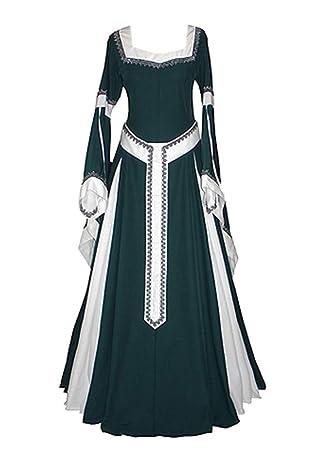 Runyue Vestido Medieval Renacentista para Mujer Vestido Largo de Noche Victoriano Gotico con Manga Larga de