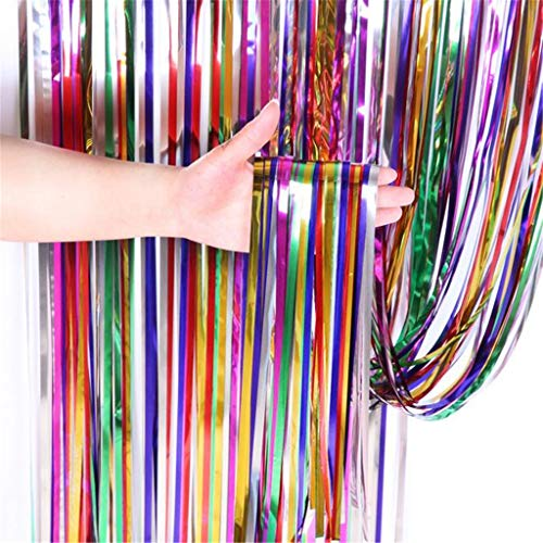 XGao Tinsel Foil Curtains 1x2m Colorful Metallic Fringe Curtains Decorative Shimmer Curtain Best Decoration for Birthday Wedding Party Photo Backdrop Window Christmas New Years Eve Celebration (1x2M)