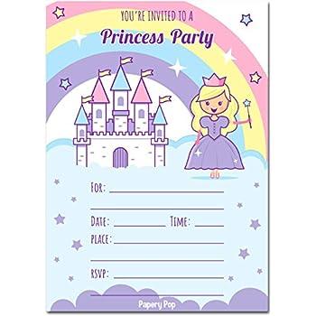 Amazon princess birthday party invitations fill in style 20 30 princess birthday invitations with envelopes 30 pack kids birthday party invitations for girls filmwisefo