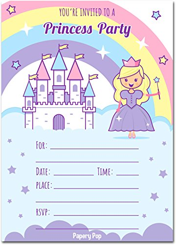 Birthday Invitation Princess Disney - Papery Pop Princess Birthday Invitations with Envelopes (15 Count) - Kids Birthday Party Invitations for Girls