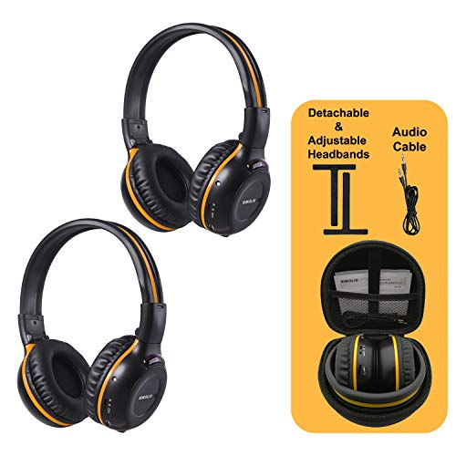 - 2 Pack of IR Wireless Headphones for Car DVD/TV, 2 Channel Car Headphones for Kids with 3.5mm Aux Cord, Cars Kids Headphones