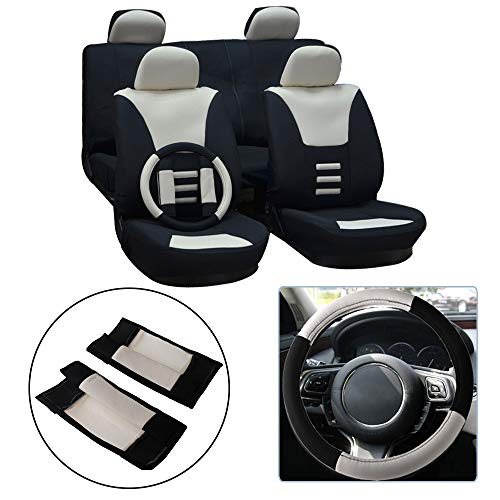 OCPTY Car Seat Cover, Stretchy Universal Seat Cushion w/Headrest Cover/Steering Wheel/Shoulder Pads 100% Breathable Automotive Accessories with Durable Washable Polyester for Most ()