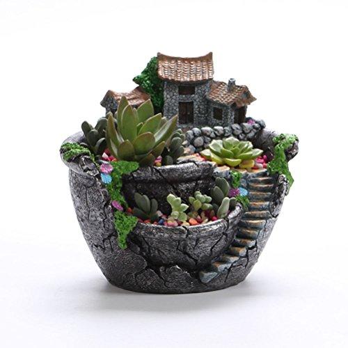 NUOLUX Micro Landscape Artificial Flowers Succulent Plants ...