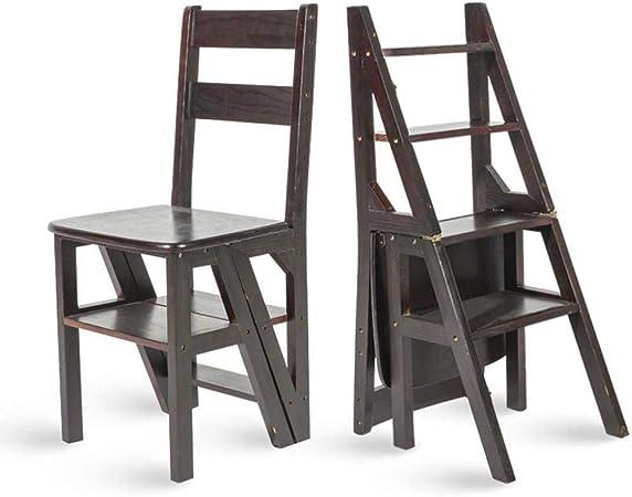 NYDZDM Escalera multifunción doméstica Taburete de Madera Maciza IKEA Silla Plegable de Doble Uso Escalera de Cuatro Pasos Escalera Ascendente 38 × 39 × 60 cm (Color : Black): Amazon.es: Hogar