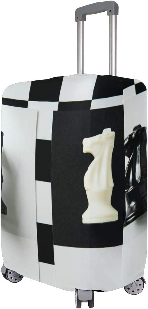3D Knight Chess Piece Print Luggage Protector Travel Luggage Cover Trolley Case Protective Cover Fits 18-32 Inch