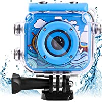 AMERTEER Waterproof Kids Camera with 2.0 Inch LCD Display 12MP Photo Resolution & 1080P Video Resolution Underwater Children's Camera for 4-12 Boy Birthday/ Festive Gifts (blue)