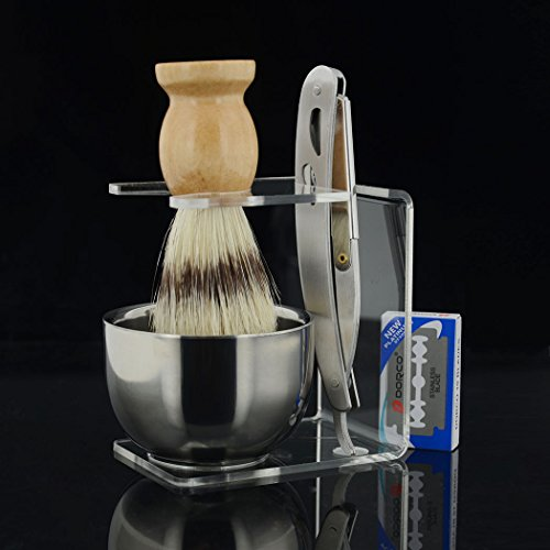 Grandslam Men Shave Set Kit Stainless Straight Razor Shaving Brush Stand Bowl +10 Blades
