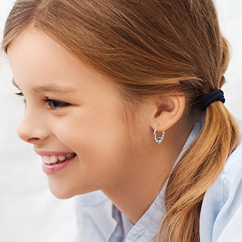 LeCalla Sterling Silver Jewelry Italian Design Bali Style Love Knot Ring Hoop Earrings for Kids and Girls by LeCalla (Image #4)
