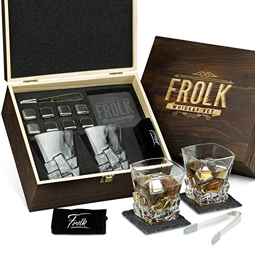 - Whiskey Stones Gift Set for Men - 8 Chilling Stainless-Steel Whiskey Cubes, 2 Large Classic Glasses 11oz, Slate Stone Coasters, Velvet Storage Pouch, Silicone-Tipped Tongs in a Real Pinewood Box