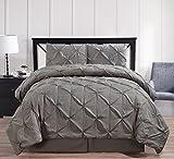 Oxford Decorative Pinch Pleat Comforter Set, 4 Pieces, Hypoallergenic Comforter, Down Alternative Fill, Queen, Gray