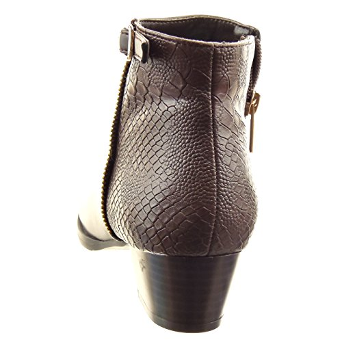Sopily - Chaussure Mode Bottine Cavalier Low boots Cheville femmes Peau de serpent boucle Fermeture Zip Talon bloc 4 CM - Marron