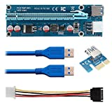 12Pack PCI-E 1x to 16x Powered Riser Adapter Card w/ 60cm USB 3.0 Extension Cable & MOLEX to SATA Power Cable - GPU Riser Extender Cable - Ethereum Mining ETH