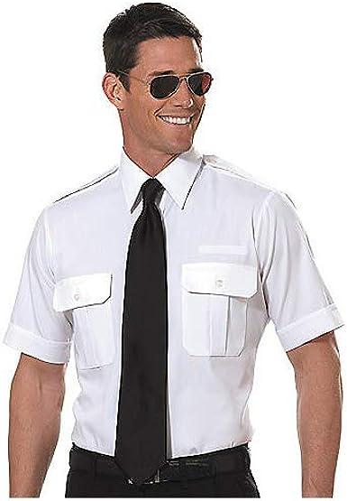 Van Heusen Hombres Manga corta Camisa de piloto, color blanco: Amazon.es: Ropa y accesorios