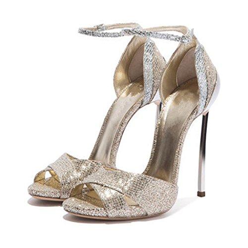 Heels High With Sandals Mouth Women's Girls Gold Elegant Buckle Bag Fish Fashion qRqwvOz4
