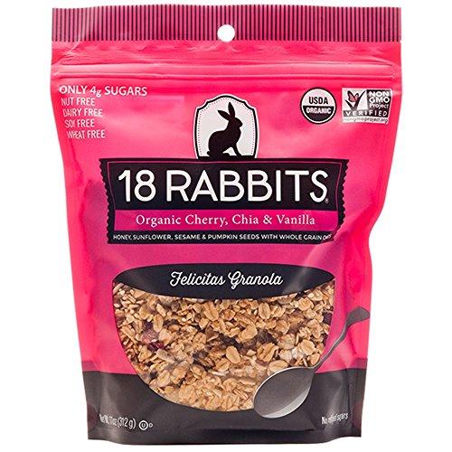 18 Rabbits Organic Felicitas Granola, Cherry, Chia & Vanilla, 11 Ounce bag
