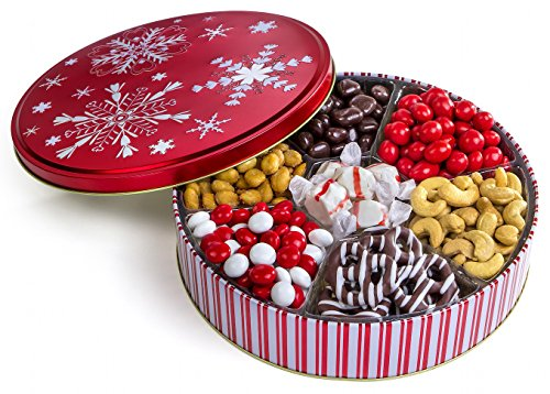 Chocolate, Nuts, and Sweets Gourmet Gift Basket in a Keepsake tin with 7 Assorted Delicious Snack Options Red Snowflake Design