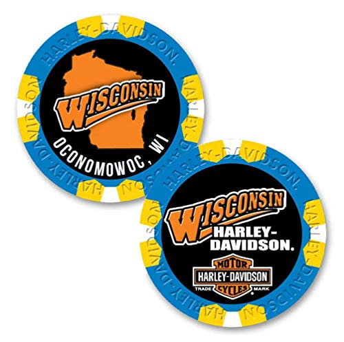 Harley-Davidson Custom Wisconsin Harley Poker Chip Collectible - Blue/Yellow