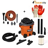 RIDGID 12 Gal. 5.0-Peak HP Wet Dry Vac with Auto Detail Kit WD1270A and Toucan City Nitrile Dip Gloves(5-Pack)