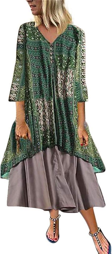 Reooly Impreso Retro, Vestido Largo sin Mangas Floral sin Mangas Bohemio de Gran tamaño para Mujer