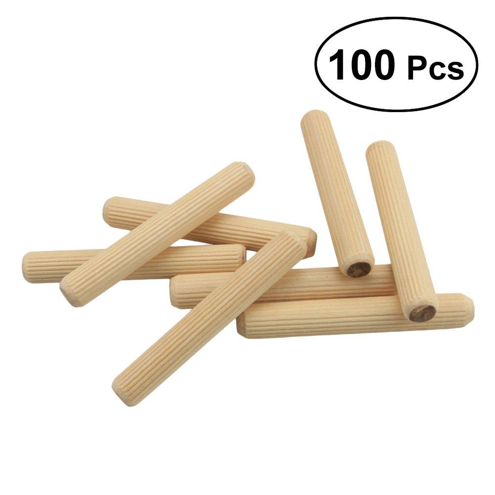 BESTOMZ 200 Pcs Wooden Dowel Pins Wood Kiln Dried Fluted Twill and Beveled Dowels Rods