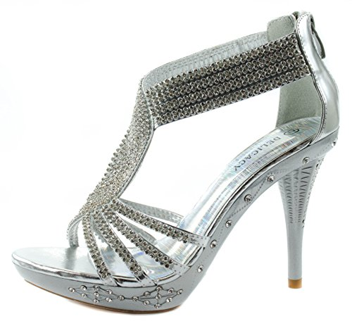 Delicacy Womens Delicacy-07 High Heel Pumps with Clustered Rhinestones on Crossed Straps Silver 2sADmX