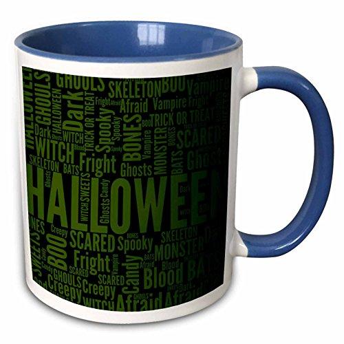 3dRose Anne Marie Baugh - Halloween - Green Halloween Words Include Skeleton, Spooky, Blood, Creepy and More - 15oz Two-Tone Blue Mug (mug_216963_11)