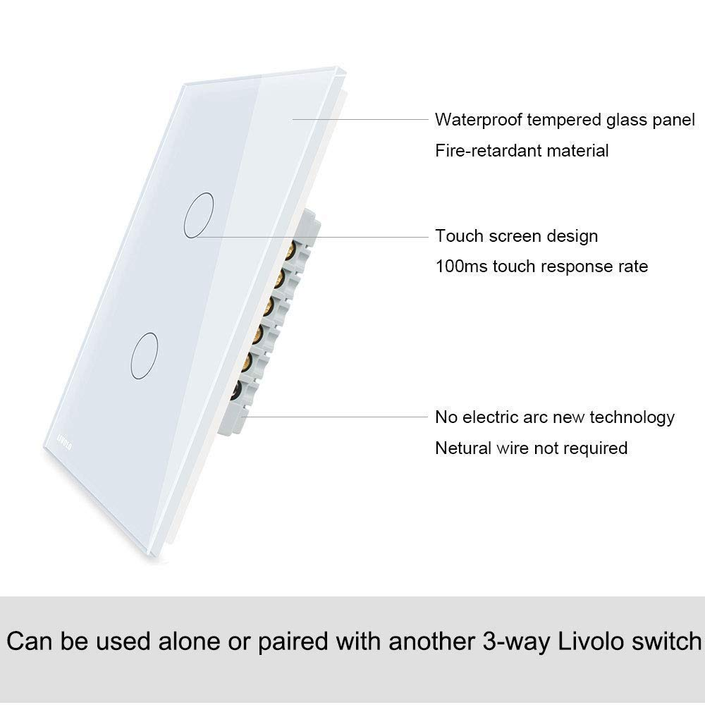 LIVOLO Light Switch Tempered Glass Panel Touch Light Switch 1 Gang 3-Way with Indicator Light,US Standard Modern Wall Touch Switch VL-C501S-11