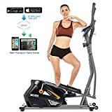 ANCHEER Elliptical Machine Elliptical Trainer Exercise Machine Magnetic Smooth Quiet Driven with LCD Monitor, Pulse and APP Control, Updated Top Elliptical Machine Trainer (Gray)