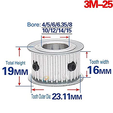 3M50T Synchronous Wheel Timing Belt Pulley Gear Bore 6-20mm For 15mm Width Belt