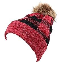 Sakkas Baya Long Tall Checker Pattern Fold Over Faux Fur Pom Pom Unisex Beanie Hat