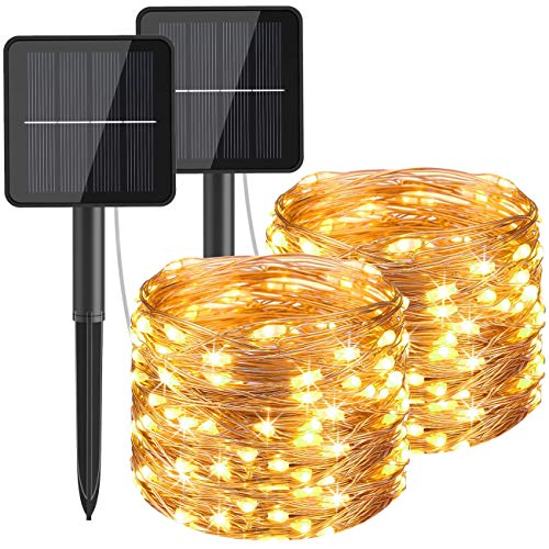 Hepside Guirnaldas Luces Exterior Solar, [2 Pack] Luces Solares LED Exterior Jardin 12m 120 LED 8 Modos Guirnalda Solar Impermeable Decoracion para Terraza, Fiestas, Bodas, Patio, Jardines, Festivales