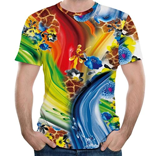 Mens T-Shirt, 2018 Fashion Boys Slim Fit Colorful Paint Tees Graphic Sweatshirt