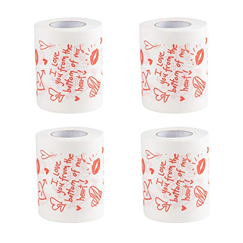 Valentine's Day Toilet Paper - 4 Rolls Gag Gift Novelty Toilet Paper, Love Doodle Print Bath Tissue Joke Toilet Paper for Funny Valentine's Day Gifts, 250 Sheets per Roll