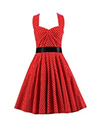Kisstyle Women Elegant Halter Style Polka Dot Party Dress As Picture