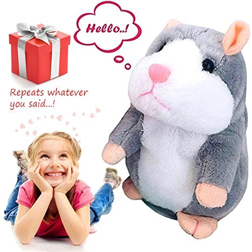 Talking Pet Hamster Electronic Animal Plush Toy - Mimics and Repeats After Words & Sounds for Kids Ages 4 - 100, Boys and Girls, Birthdays, Christmas by Neverland(Grey) (gara)