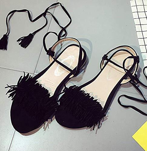 couleur 37 pantoufles Sandales la à nappa taille de chaussures vert noir mode à 39 cheville bas femmes bride talon Schwarz pour d'été Oudan TwUpTfqP