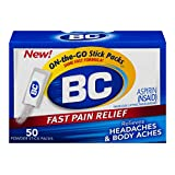 BC Aspirin Fast Pain Relief Powder | Relieves Headache & Body Aches | 50 Powders