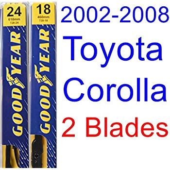2002-2008 Toyota Corolla CE Replacement Wiper Blade Set/Kit (Set of 2 Blades) (Goodyear Wiper Blades-Premium) (2003,2004,2005,2006,2007)