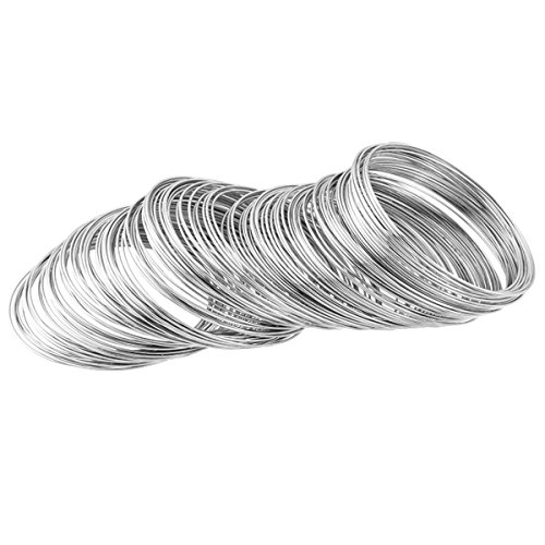 200 Loops Silver Tone 0.6mm Steel Memory Beading Wire for Bracelet Jewelry Making