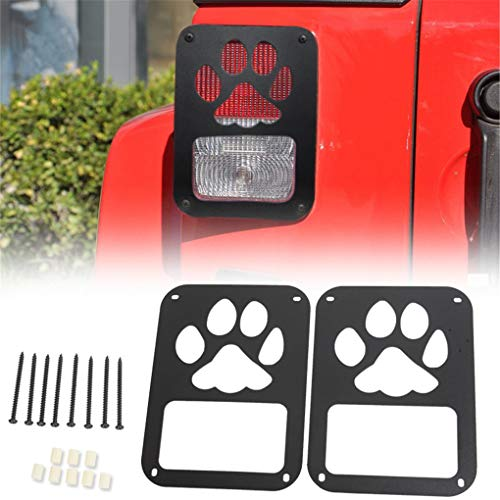 NYYINLI 2pack Dog Paw Tail Light Guard Rear Side Rugged Off Lamp Protector Cover Trim Jeep Wrangle JK & Unlimited 2007-2018