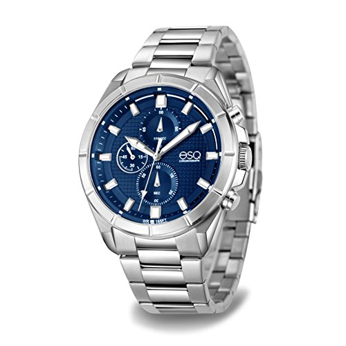 ESQ Men's Casual Analog-Quartz Watch with Stainless-Steel Strap, Silver, 23 (Model: 37ESQE13001A)