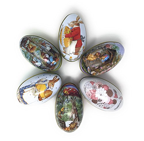 Tin Easter Eggs, Vintage Rabbit Chicks Flower Jumbo Large Size Set for Filling with Candy, Toys (6)
