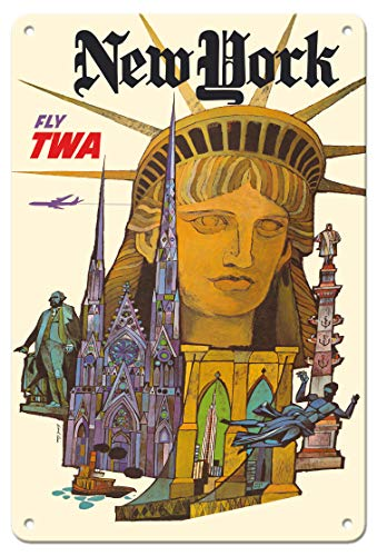 - Pacifica Island Art 8in x 12in Vintage Tin Sign - New York - Fly TWA (Trans World Airlines) - Statue of Liberty by David Klein