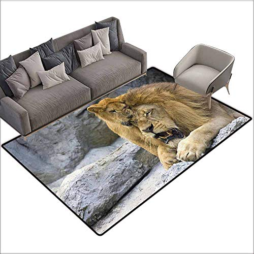 Office Chair Floor Mat Foot Pad Safari Decor Collection,Big Lion with Little Cub Stone Cave Playful Sweet Tenderness Animal Nature Image Pattern,Gray Camel 60