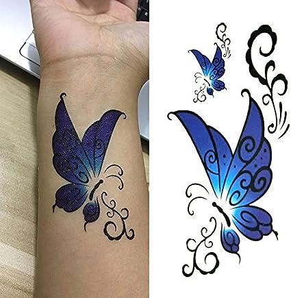 Oottati Tatuajes Temporales Cintura Mariposa Azul (Juego De 2 ...
