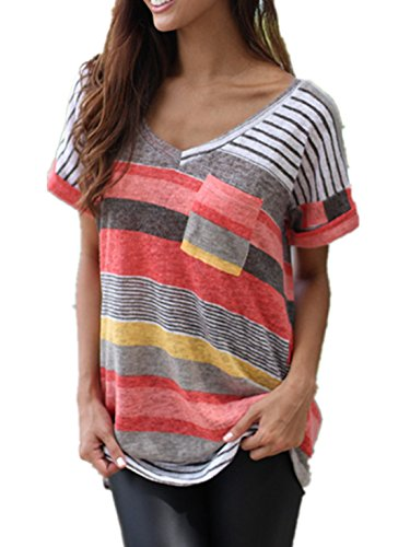 Q&Y Women's V-neck Striped Casual Short Sleeve T-shirt Blouse Tees Tops Red,US XXXL(Tag XXXXL)
